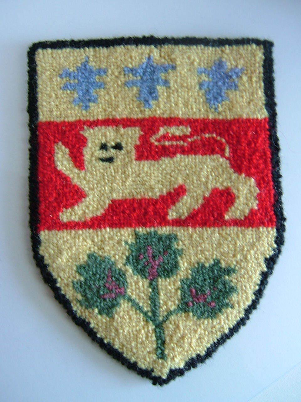 Cheticamp Nova Scotia Hooked Rug Coat of Arms of Quebec