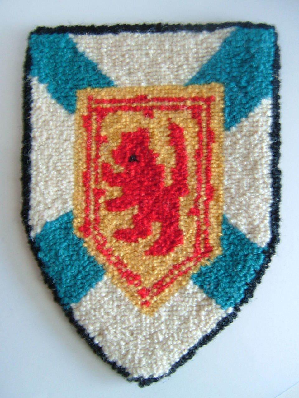 Cheticamp Nova Scotia Hooked Rug Coat of Arms of Nova Scotia