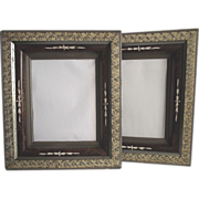 1870's Deep Walnut Frames with Sponge Decoration Containing Mirrors Matched Pair