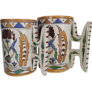 Galvani circa 1900-20  Italian Faience Mugs  Matched Wedding Set