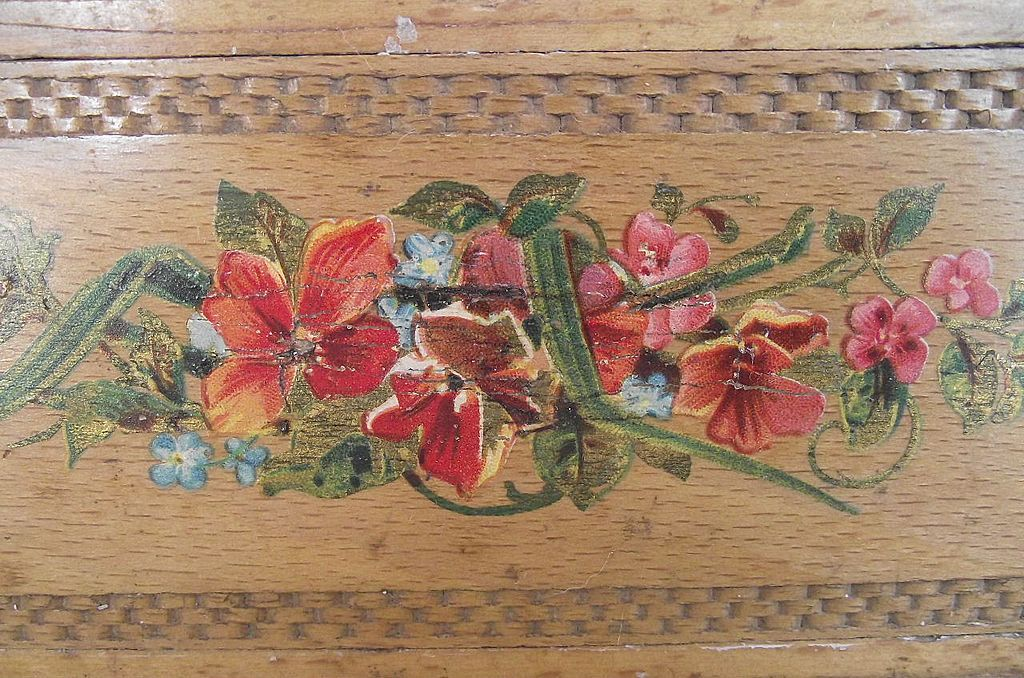 English Pencil Box with Hand Painted Floral Top