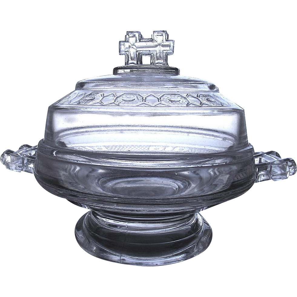 Victorian EAPG Covered Butter Dish Two Band Pattern