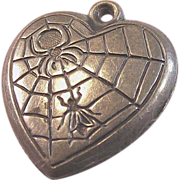 Sterling Silver Spider and the Fly Puffy Heart Charm