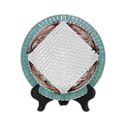 Victorian Majolica Napkin Plate with Basket Weave Background  English