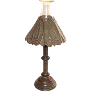 Antique Arts and Crafts Candle Stick with Punched Brass Shade