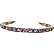 Purple and White Rhine Stone Bangle Bracelet