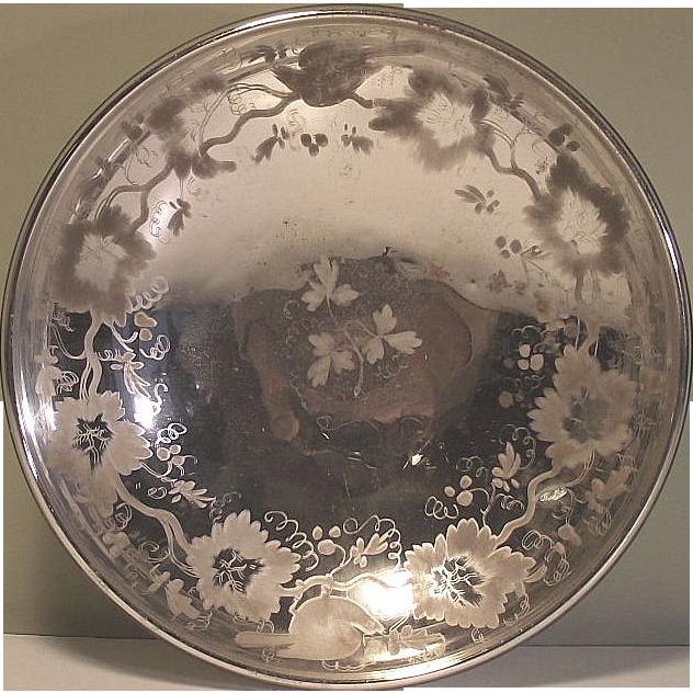 Victorian Decorated Mercury Glass Bowl