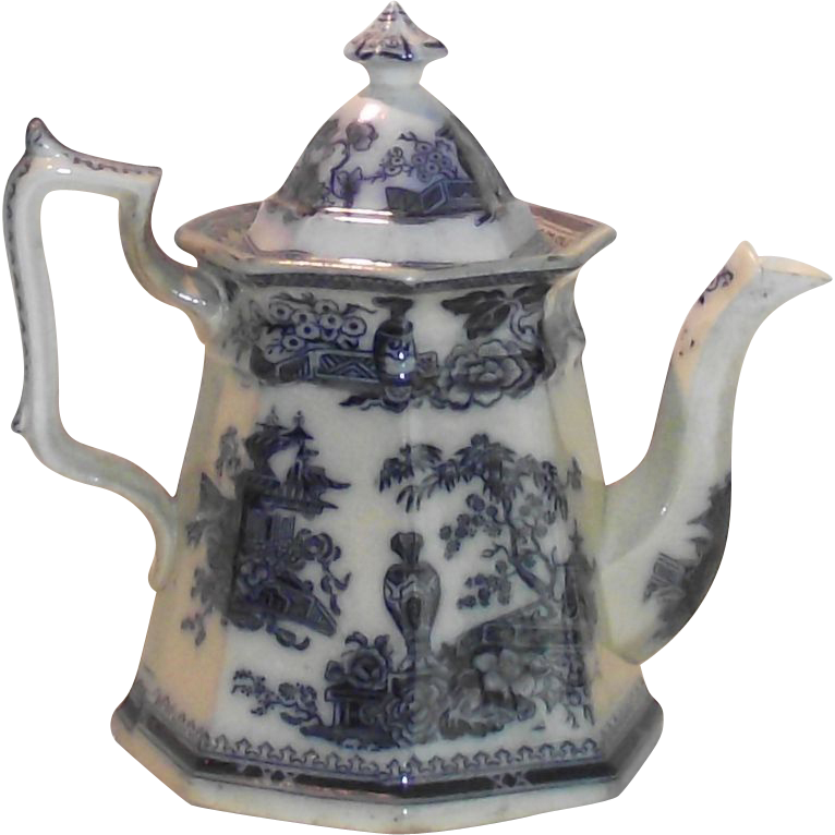 1849 Jeddo Pattern Flow Blue Coffee Pot William Adams