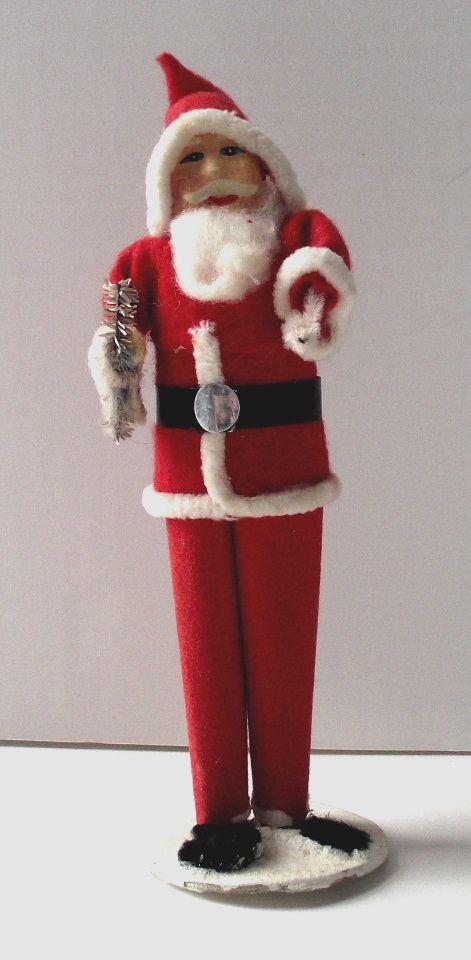 Vintage Paper Mache' Face Japanese Santa Claus Holding Tree