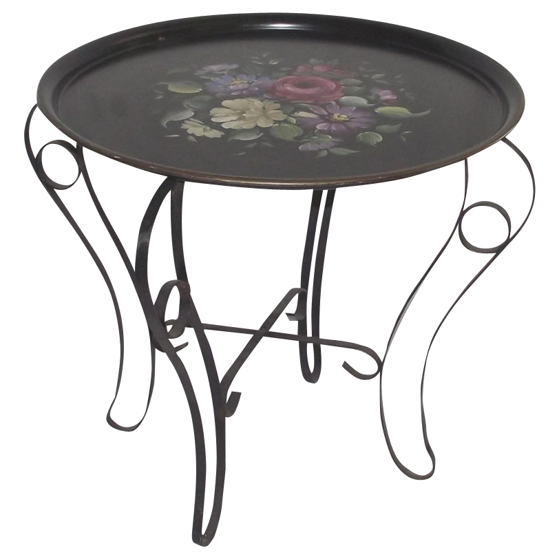 Large Floral Tole Tray with Folding Metal Table Stand