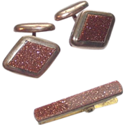 Goldstone Cuff Links & Matching Clip Brooch
