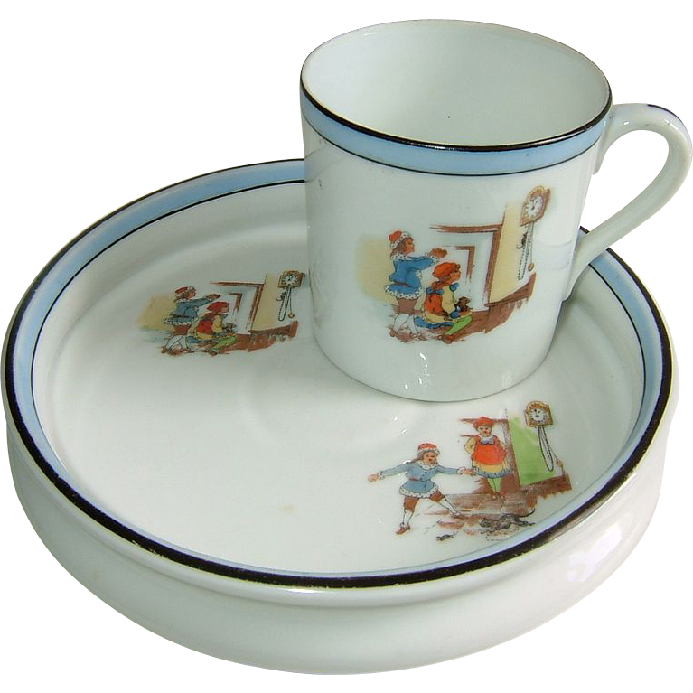 Noritake Baby Plate and Cup Hickory Dickory Dock The Mouse Ran up the Clock