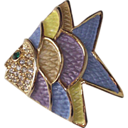 Vintage Enamel Fish Brooch Blue Yellow Lavender Multi-Colored