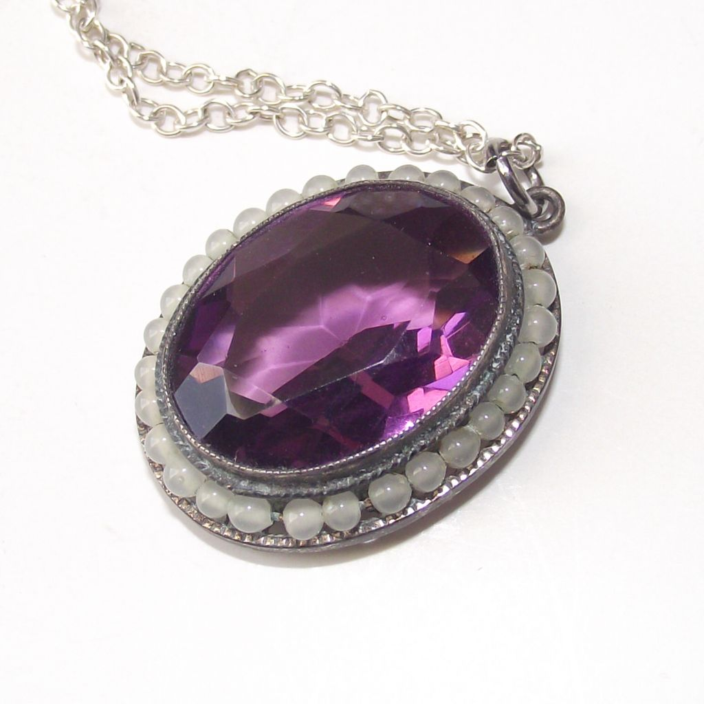 Oval Amethyst with Opal glass beads Pendant Sterling Necklace