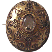 Victorian Gilt over Silver Etruscan Brooch with Citrine C.1850
