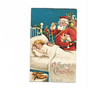 "Ellen Clapsaddle ""Santa and Sleeping Little Girl""  Post Card"