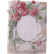 Victorian Embossed Paper Picture Frame Pink and Red Carnations