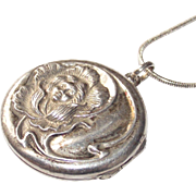 Vintage Art Nouveau Lady Locket  Sterling with 925 Chain