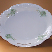 Large Green and White Platter K T & K circa 1880