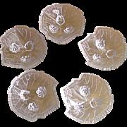 """Fostoria """"Grape Leaf"""" Open Salt Cellars Dips 1935-1940"""