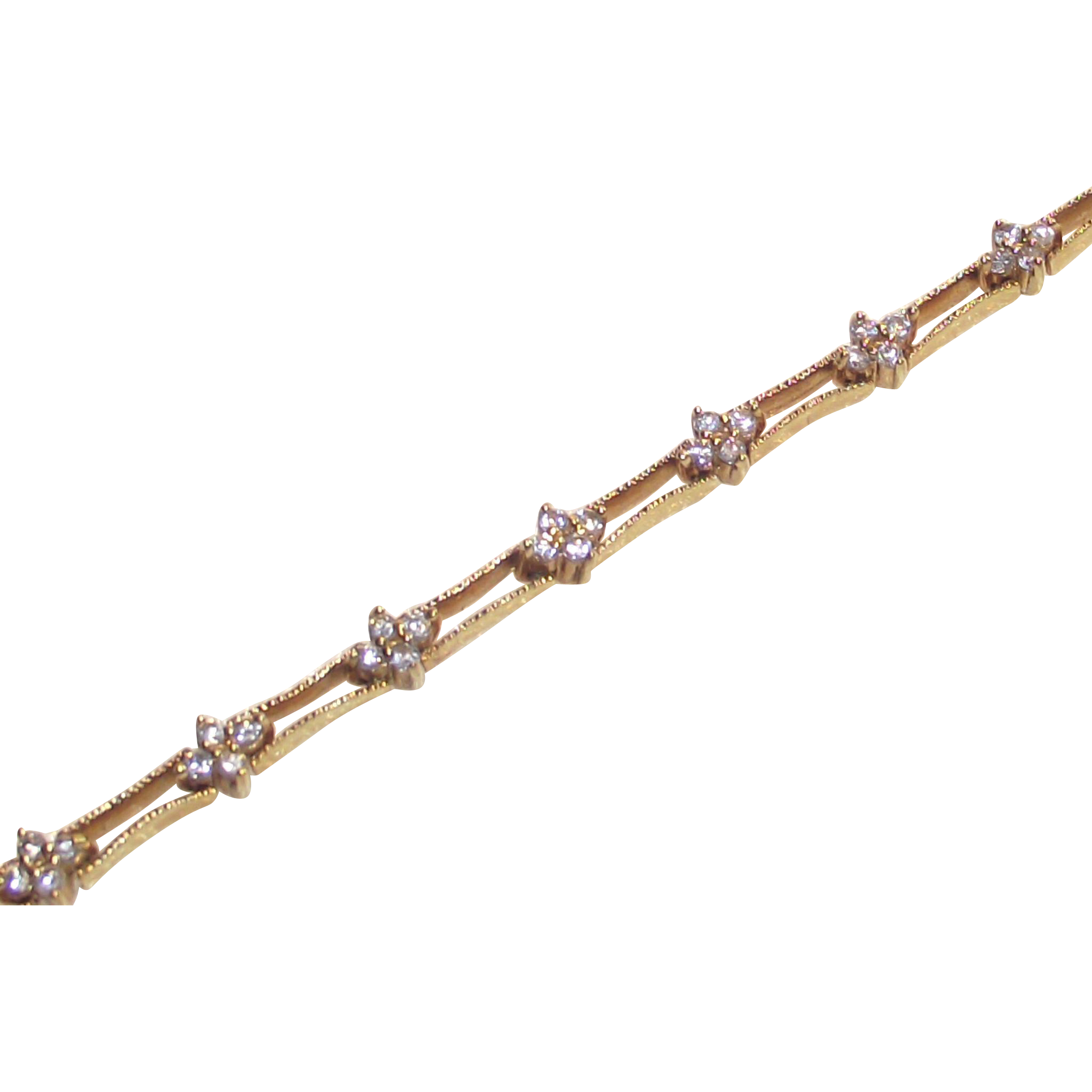 Sterling Silver with Gold Vermeil & Clear CZ's Tennis Bracelet