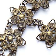 Vintage Art Deco Wire Wrapped Flowers Bracelet with Floral Charm Drop 1930's