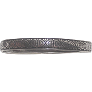 Wide Sterling Silver Bangle Bracelet with  Hearts