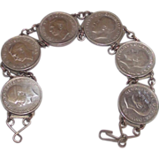 WWII  Silver 3 Pence Coin Sweetheart Bracelet George V - VI