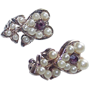 Vintage Pair Heart Shaped Flower Brooches with Purple Stones