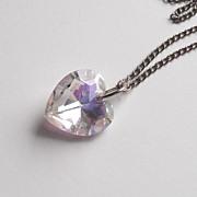 Vintage Heart Pendant Necklace Watermelon Iris Glass