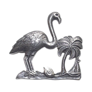 Vintage Sterling Silver Flamingo Palm Tree & Sail Boat Brooch