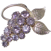 Kunzite Pink Rhinestone Grape Cluster Brooch