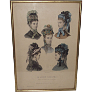 Vintage La Mode Illustree'  Hats of 1860s Era