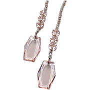 Vintage Art Deco Pink and Clear Lariat  Stunning Faceted Pink Drops