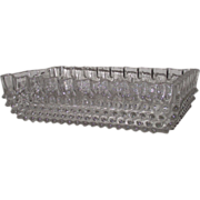 Hobnail Fluted Edge EAPG Clear Rectangular Serving Bowl