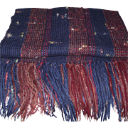Vintage Hand Woven Wool Blanket with Mohair and Ribbons