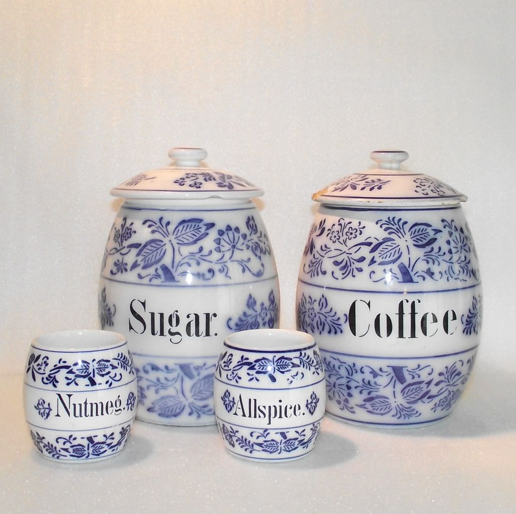 four piece german blue onion kitchen canisters from kitchen canister blue glass food storage dark blue
