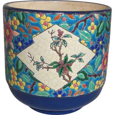 Victorian Longwy Cachepot Large with Stunning Colors