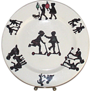 Vintage Childs Dinner Plate Children at Play in Sillouette  Restaurant Style by Lamberton