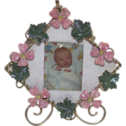 Edwardian Picture Frame with Pink Forget Me Nots