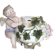 Victorian German Cherub Rose Bowl 19th Cent Porcelain