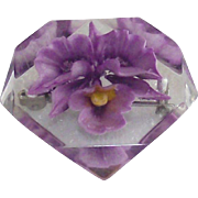 Vintage Lucite Brooch with Purple Orchid Flower Embedded