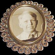 Circa 1900 Mournng Portrait Brooch Gold Tone