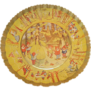 Vintage German Pressed Fluted Paper Bowl with 1930s Snow White and the Seven Dwarfs