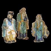 Three Piece Grouping Vintage Shekwan Mud Man Figurines