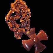 Vintage Tortoised Chain Hard Plastic with Large Maltese Cross Pendant 1940s