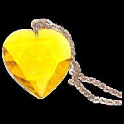Vintage Heart Pendant Lemon Yellow Very Large Glass