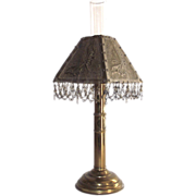 Vintage Brass Wall Hanging Convertible to Table Candle Stick Lamp with Brass Punched Shade