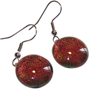 Vintage Change Color Foil Back Glass Domed Drop Earrings