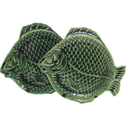 Vintage Dryden Tin Glaze Arts and Crafts Green Fish Plate